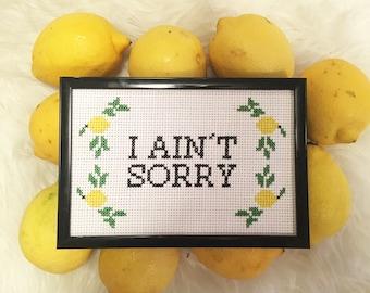 Beyonce Lemonade I Ain't Sorry Cross Stitch