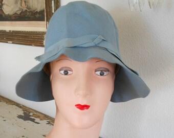 1920's Light Blue Felt Flapper Cloche Hat