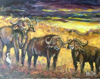 African Wildlife of three Cape Buffalo by Barry Baxter