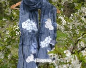 Cotton women scarf shawl blue romantic