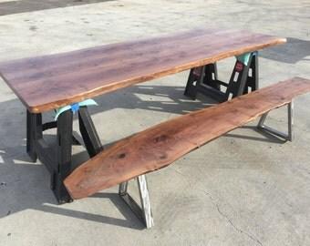 Claro Walnut Table Top & Bench