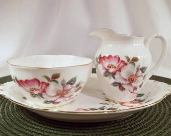 Lovely Royal Albert Wild Roses Sugar and Creamer Set With Tray