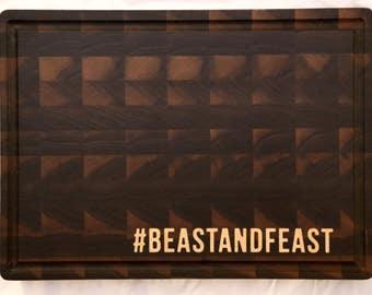 "Walnut cutting board with ""hashtag"" Maple inlay"