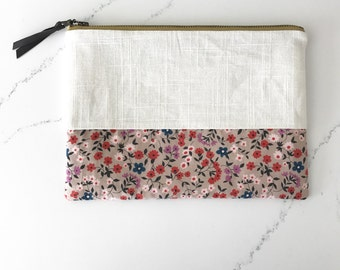 Large clutch/ cosmetics bag HANDMADE white linen floral base