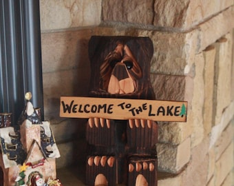 Chainsaw Carved Bear 11 inch with three signs