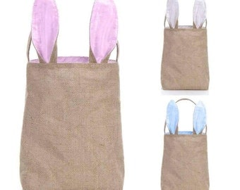 10 ~ White, Blue, or Pink Ear Blank Bunny Ear Tote Bag Burlap Easter Rabbit Basket Egg Hunt Holiday Customized
