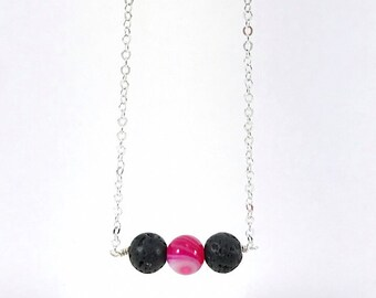 Lava Diffuser Necklace, Diffuser Necklace, Essential Oil Diffuser Necklace, Minimalist, Simple, Black, Pink Agate, Gemstone Bar Necklace, Si