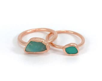 Raw Stone Ring, Chrysoprase Ring, Raw Crystal, Electroformed Ring, Copper Ring, Green Gemstone, Mint, Rough, Nugget, Healing, Edgy
