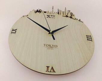 """Wooden wall clock - World cities """" TOKYO """""""