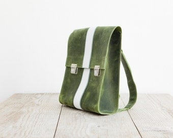 Leatherbackpack made of genuine green leather