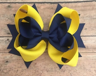 Navy and Yellow Bow - Hairbow - Boutique Bow - Baby Bow - Hair bow - navy and yellow - navy hair bow - yellow hair bow - hair clip - bow