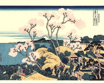 "Japanese Ukiyo-e Woodblock print, Katsushika Hokusai, ""Goten-yama-hill, Shinagawa on the Tōkaidō, Thirty-six Views of Mount Fuji"""