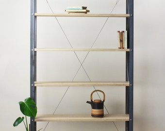 KONK! - Industrial/Rustic, Oak/Steel - Classic Slim BOOKCASE [Bespoke sizes available!]