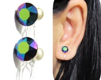 Swarov Scarab Rhinestone clip on earrings  9B  Wedding Clip on Stud Earrings Painless Non Pierced Earrings Bridal Invisible Clip on earrings