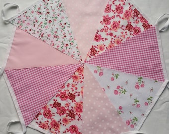 Pink Bunting Vintage Floral Gingham Mix Pennant Garland: 9ft / 2.75m Shabby Chic Baby Girls Nursery Christening Garden Parties All Occasions