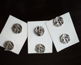 Italian Silver Metal Buttons Set of 6