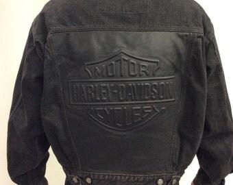 RARE Harley Davidson Denim Jacket Black Riding Jacket