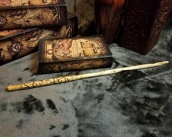 Wizard wand, fairy wand, wood wand, magic wand, witch, Warlock, hand crafted, one of a kind, woodburned