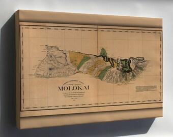 Canvas 24x36; Map Of Molokai Hawaii 1897