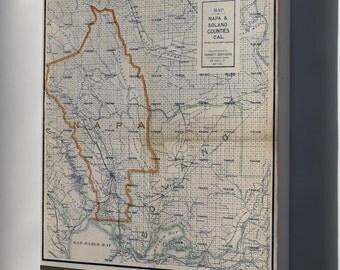 Canvas 24x36; Map Of Napa & Solano Counties California 1908
