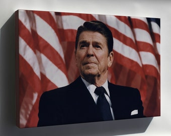 Canvas 24x36; President Ronald Reagan With American Flag