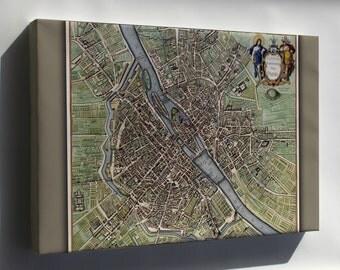 Canvas 24x36; Map Of Paris France 1640S
