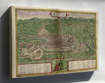 Canvas 24x36; Map Of Rome 1612