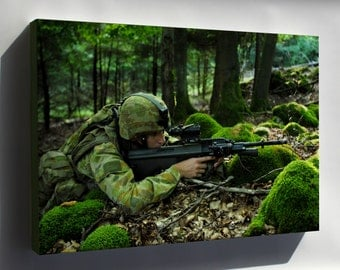 Canvas 16x24; Australian Soldier Assumes A Solid Fighting Position