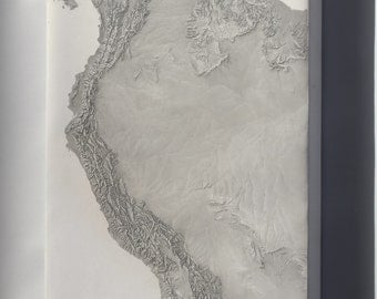 Canvas 16x24; Cia Terrain Map Of South America & Andes Mountains