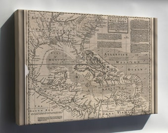 Canvas 16x24; Map Of West Indies Cuba Florida Mexico 1750 P2