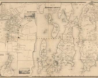 16x24 Poster; Map Of Newport County, Rhode Island 1850