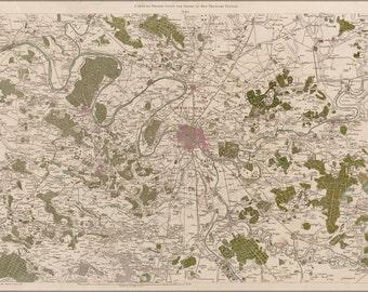 16x24 Poster; Map Of Paris France 1756