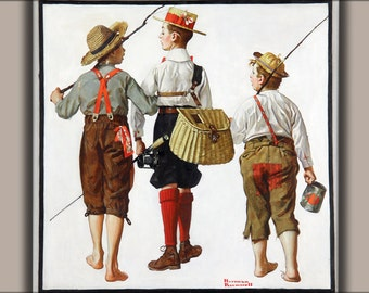 16x24 Poster; Fishing Trip, By Norman Rockwell 1919