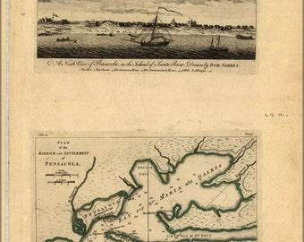 16x24 Poster; View & Map Of Pensacola Florida 1768