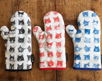 Cat Oven Mitt -Our Hairy Friends- RED Pot Holder
