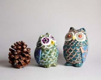 Two green and turquoise Owls, owls ceramic handmade, home decoration.