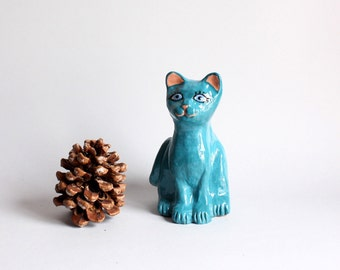 Blue Cat with turquoise eyes, Contemporary style Home decor, Made in Italy.
