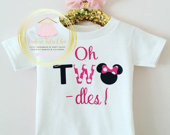Oh two dles onesie - oh two dles birthday shirt - oh two dles birthday outfit - Minnie Mouse birthday outfit - minnie mouse birthday theme