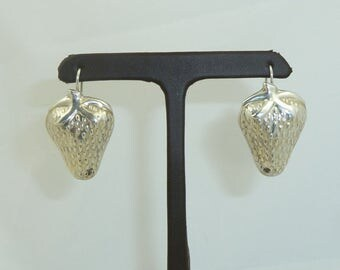 Vintage Sterling Silver Mexican Strawberry Earrings