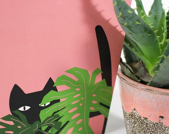 Monstera Plant Cat Card