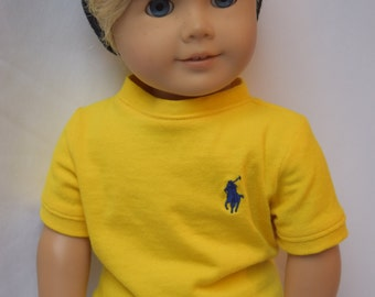 Bright yellow Ralph Lauren tshirt tee fits 18 inch dolls such as American girl doll clothes