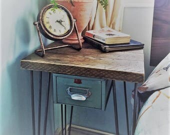 Scaffolding board bedside table with steel hairpin legs