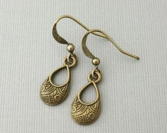 Antiqued Bronze Teardrop Earrings, Brass Drop Charms, African Pattern Inspired Jewelry, Niobium Wires, Hypoallergenic Earrings