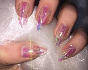 Clear holographic glitter shattered glass stiletto false nails