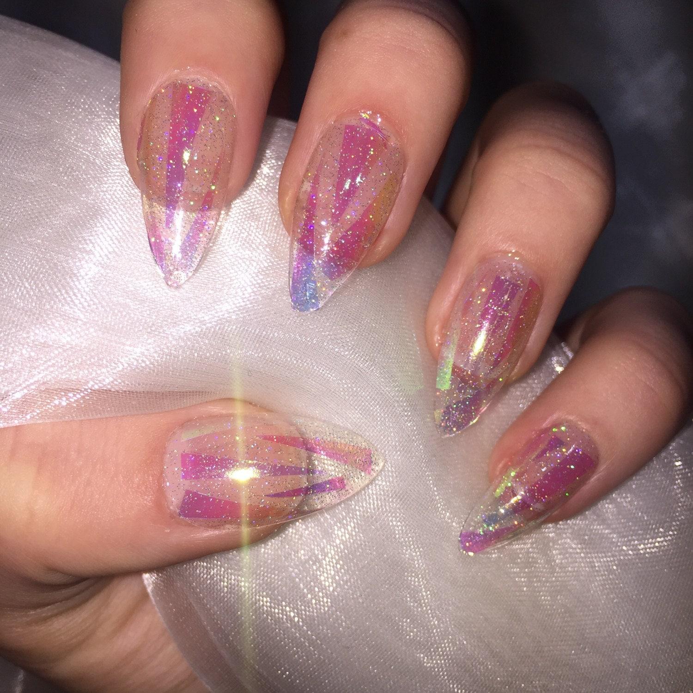 Christmas False Nails Uk: Clear Holographic Glitter Shattered Glass Stiletto False Nails