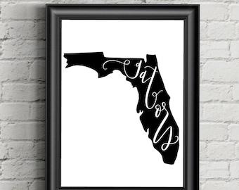UF Florida Gators Silhouette Printable Art, Florida State silhouette Instant Download, Wall Decor, 300 dpi, Digital, Calligraphy, State FL