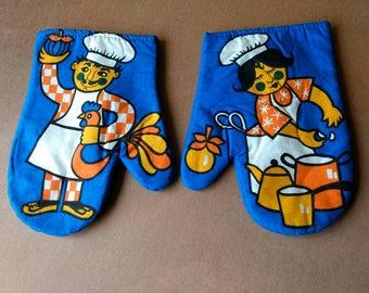 Vintage Kitchen Glove - Pot Holder - Blue - Chef - Chicken - Garlic