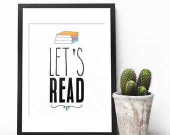 Lets Read, Classroom Printable, Classroom Wall Decor, Classroom, Reading Print, Reading Poster, Books, Book Prints, Book Poster, Reading Art
