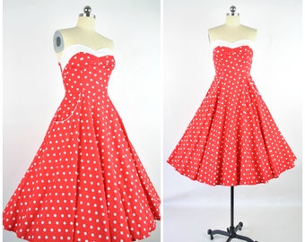 "1950's dress/ 50's red polka dot dress  sz XS- S  (B 32"" W 25"")  / Vintage party sun dress /cotton fit and flare pockets strapless sundress"