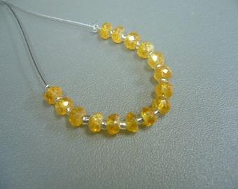 Spessartite Mandarin Orange Garnet Faceted Rondelle Beads Set of 15